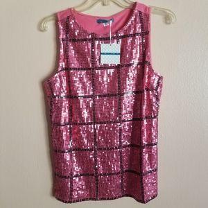 Pim + Larkin Pink Sequin Tank Top